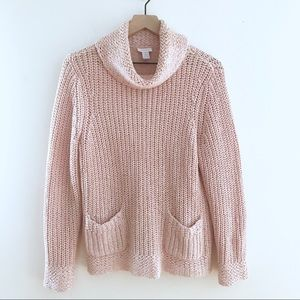 CHICOS Pink Cowl Neck Pullover Sweater Pockets